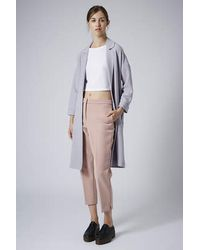 TOPSHOP - Premium Bonded Peg Leg Trousers Pink - Lyst