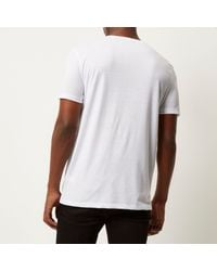 River Island - White Textured Front T-shirt for Men - Lyst