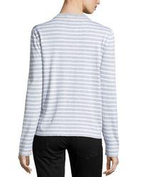 Michael Kors - White Striped Long-sleeve Top - Lyst