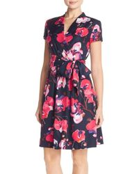 Ellen Tracy Blue Floral Twill Faux Wrap Dress