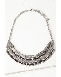 Forever 21 | Metallic Thread-woven Etched Necklace | Lyst