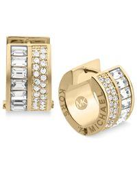 Michael Kors | Metallic Gold-Tone Crystal Baguette Huggie Hoop Earrings | Lyst