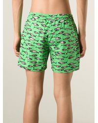 Stella Jean - Green Fish-Print Swim Shorts for Men - Lyst
