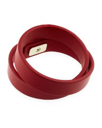 Ferragamo - Red Double Wrap Leather Bracelet - Lyst