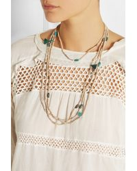 Isabel Marant - Metallic Set Of Two Ceramic Bead, Bone And Turquoise Necklaces - Lyst