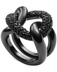 Michael Kors | Black Jet Pavé Curb Link Statement Ring | Lyst