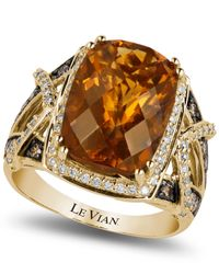 Le Vian | Brown Cognac Quartz (5-7/8 Ct. T.W.) And Diamond (1/4 Ct. T.W.) Ring In 14K Rose Gold | Lyst