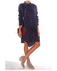 Lyst Thakoon Addition Flannel Side Tie Dress In Purple