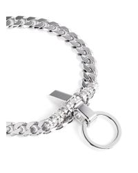 Givenchy - Metallic 'obsedia' Pearl Strass Curb Chain Necklace - Lyst