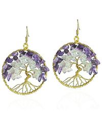 Aeravida | Metallic Eternal Tree Of Life Stone Branch Brass Dangle Earrings | Lyst