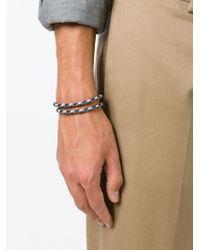 Tod's - Gray Braided Double Strap Bracelet for Men - Lyst