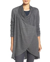 Bobeau | Gray Long One-button Cardigan | Lyst