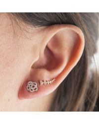 Anne Sisteron | Pink 14kt Rose Gold Diamond Floral Stud Earrings | Lyst