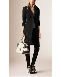 Burberry - White Grainy Leather And Canvas Check Winged Tote  - Lyst