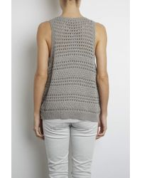 INHABIT | Gray Crochet Mouline Tank | Lyst