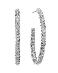 INC International Concepts | Metallic Silvertone Pave Crystal Hoop Earrings | Lyst