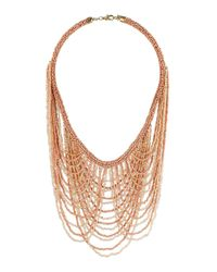TOPSHOP - Pink Beaded Multi Layer Necklace - Lyst
