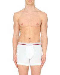 Emporio Armani - White Logo Stretch-cotton Trunks for Men - Lyst