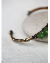 Free People | Green Mikal Winn Womens Wire Wrapped Stone Cuff | Lyst