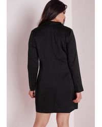 Missguided - Plus Size Tuxedo Satin Collar Dress Black - Lyst