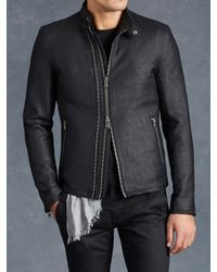 John Varvatos | Black Cotton Moto Jacket for Men | Lyst