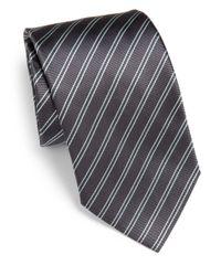 Armani - Gray Striped Silk Tie for Men - Lyst