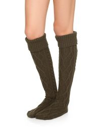 Free People - Green Cozy Cable Socks - Lyst