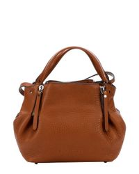 Burberry | Saddle Brown Leather And Check Canvas 'Maidstone' Zip Convertible Small Tote Bag | Lyst