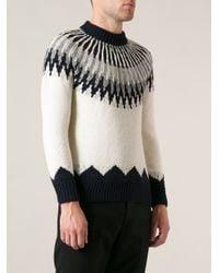 Moncler - White Geometric Knit Sweater for Men - Lyst