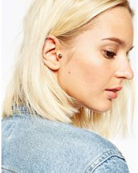 ASOS - Metallic Gold Plated Sterling Silver Smoked Topaz Ear Cuff Pack - Lyst
