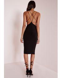 Missguided - Star Back Strap Detail Midi Dress Black - Lyst