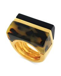 Vince Camuto | Metallic Goldtone Tortoise Block Ring | Lyst