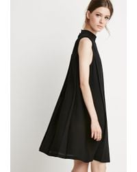 Forever 21 | Black Pleated Trapeze Dress | Lyst