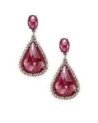Bavna | Red Champagne Diamond & Sterling Silver Teardrop Earrings | Lyst