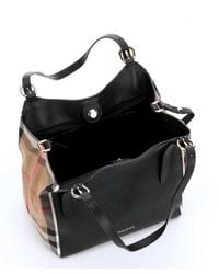Burberry | Black Leather And House Check Small 'canterbury' Tote Bag | Lyst