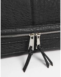 ASOS | Black Casual Clutch Bag with Front Strap and Chunky Zips | Lyst