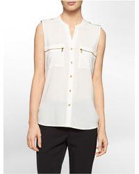 Calvin Klein - White Label Mandarin Collar Exposed Zip Detail Sleeveless Top - Lyst