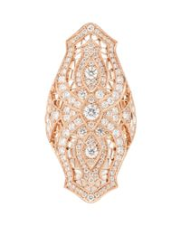 Stone | Diamond & Pink Gold Sarah Shield Ring | Lyst
