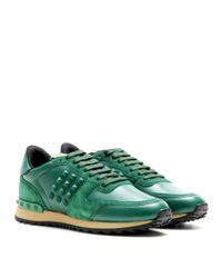 Valentino - Green Rockstud Leather Sneakers - Lyst