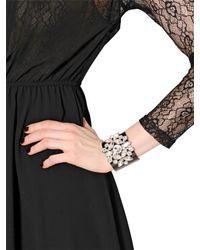 Blugirl Blumarine | Black Crystal Embellished Brass Bracelet | Lyst