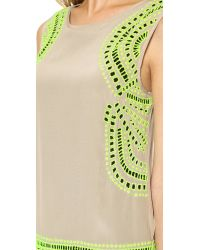 Shoshanna - Natural Embroidered Brenda Dress - Taupe/Neon Yellow - Lyst