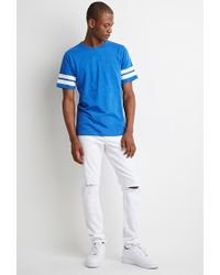 Forever 21 | Blue Varsity-stripe Tee for Men | Lyst