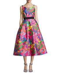 MILLY | Multicolor Sleeveless Tropical-printed Full-skirt Dress | Lyst