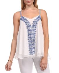 Lucy Paris - White Embroidered Chiffon Tank Top - Lyst