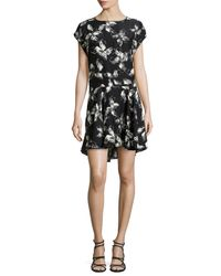 Halston | Multicolor Cap-Sleeve Floral-Print Dress | Lyst