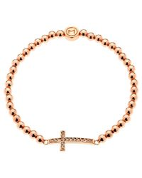 Melissa Odabash | Metallic Rose Gold Plated Crystal Cross Bracelet | Lyst
