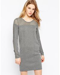 Vila - Gray Long Sleeve Jumper Dress With Open Knit Neckline - Lyst