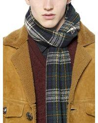 Saint Laurent - Green Check Tartan Wool Scarf for Men - Lyst