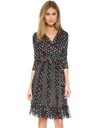 Diane von Furstenberg | Black Caprice Wrap Dress - Daisy Buds Tiny Multi/dotted B | Lyst