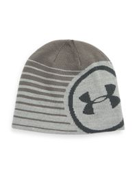 Under Armour | Gray Striped Logo Beanie for Men | Lyst